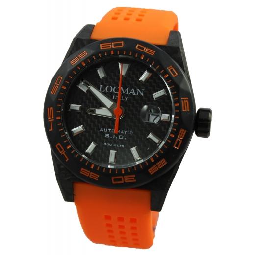 Pánské hodinky Locman Stealth 300m Carbon - oranžové