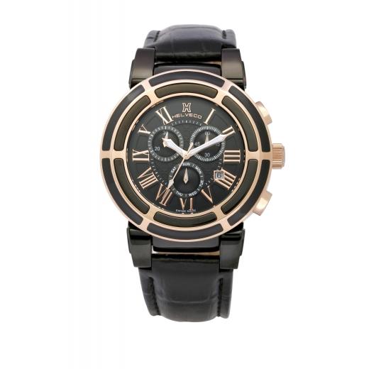 Pánské hodinky Helveco Wheel Crown - černé