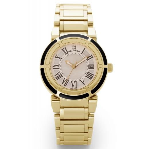 Dámské hodinky Helveco Wheel Crown - zlaté