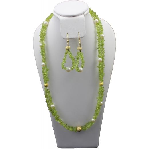 Sada šperků Juvelis Gem - Peridot a perly