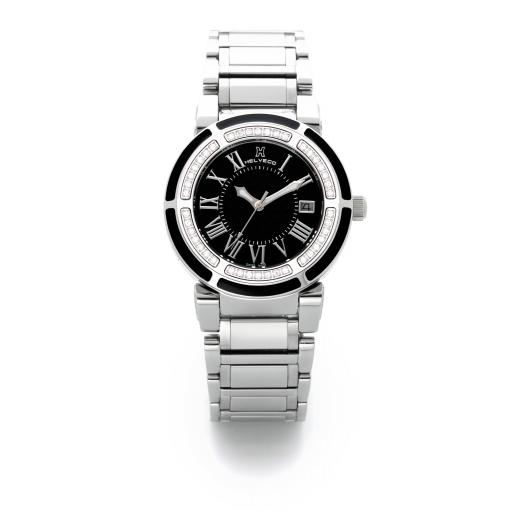Dámské hodinky Helveco Wheel Crown - černé